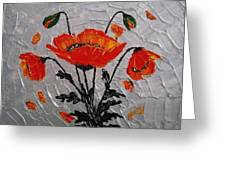 Red Poppies Original Palette Knife Greeting Card