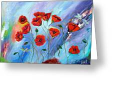Red Poppy With Dragonfly Greeting Card