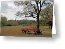 Red Pumpkin Wagon Greeting Card by Paulette Maffucci