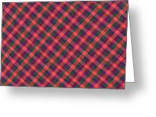 Red Purple And Green Diagonal Plaid Textile Background Greeting Card