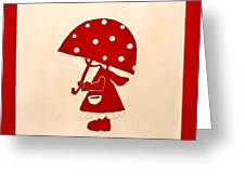 Red Rain Girl Greeting Card