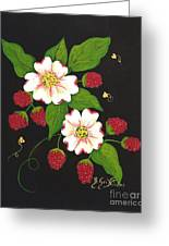 Red Raspberries And Dogwood Flowers Greeting Card