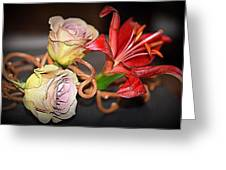 Purple Roses And Red Lily Greeting Card