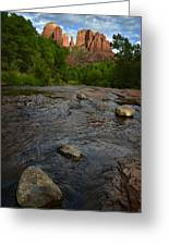 Red River Crossing Under Cathedral Rock Greeting Card
