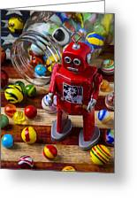Red Robot And Marbles Greeting Card