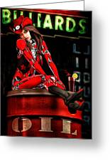 Red Robot On A Saturday Night  Greeting Card by Bob Orsillo