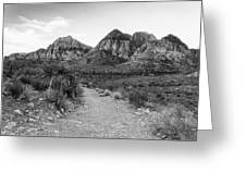 Red Rock Canyon Trailhead Black And White Greeting Card