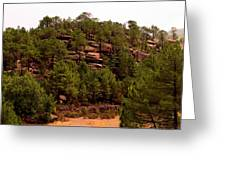 Red Rock Green Forest No3 Greeting Card