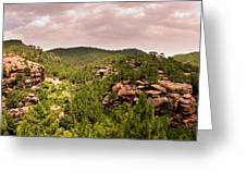 Red Rock Green Forest No2 Greeting Card