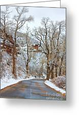 Red Rock Winter Road Portrait Greeting Card