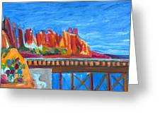Red Rocks And Railroad Trestle Greeting Card