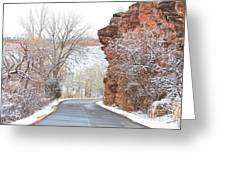 Red Rocks Winter Landscape Drive Greeting Card by James BO  Insogna
