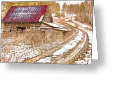 Red Roof In The Snow  Greeting Card