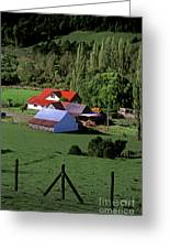 Red Roofed Barn Chiloe Island Greeting Card