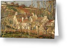 Red Roofs In A Village In Winter Greeting Card