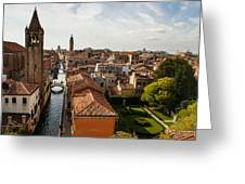 Red Roofs Of Europe - Venetian Canal Palaces Gardens And Courtyards Greeting Card