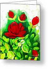 Red Roses From The Garden Impression Greeting Card