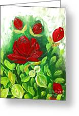 Red Roses From The Garden Greeting Card