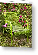 Red Roses Green Chair Greeting Card by Lena Auxier