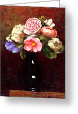 Red Roses In A Black Vase Greeting Card