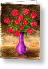 Red Roses In A Purple Vase Greeting Card