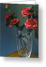 Red Roses In A Vase Greeting Card