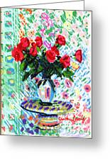 Red Roses In Water Greeting Card