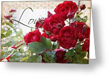 Red Roses Love And Lace Greeting Card