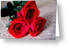 Red Roses On Lauhala Greeting Card
