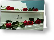 Red Roses On The Grand Piano Greeting Card