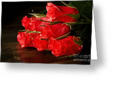 Red Roses On Wood Floor Greeting Card
