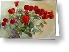 Red Roses Greeting Card by Tanya Byrd