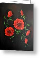 Red Roses Weeping Greeting Card