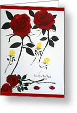 Red Roses Yellow Buds Greeting Card