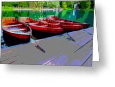 Red Rowboats Dock Lake Enhanced Iv Greeting Card