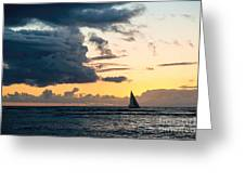 Sails In The Sunset Greeting Card