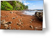 Red Sand Seclusion - The Exotic And Stunning Red Sand Beach On Maui Greeting Card