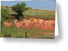 Red Sandstone Hillside With Grass Greeting Card