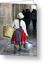 Red Skirted Woman Of Cuenca Greeting Card