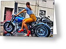 Red Shoes On A Harley Greeting Card by Tony Reddington