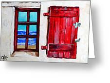 Red Shutter Ocean Greeting Card