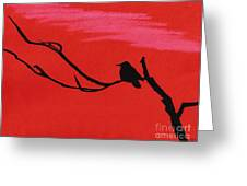 Red - Silhouette - Sunset Greeting Card