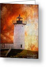 Red Sky At Morning - Nubble Lighthouse Greeting Card by Lois Bryan