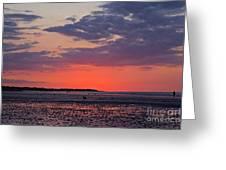 Red Sky At Sword Beach Greeting Card