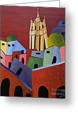 Red Sky In San Miguelle De Allende Greeting Card