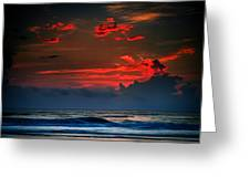 Red Sky Over Ocean Greeting Card