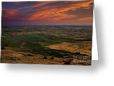 Red Sky Over The Palouse Greeting Card
