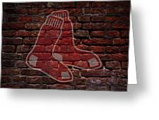 Red Sox Baseball Graffiti On Brick  Greeting Card