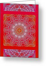 Red Space Flower Greeting Card