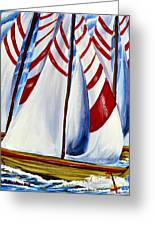 Red Stripe Sails Greeting Card